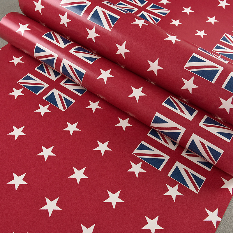ФОТО beibehang Red English Mickey Flag Retro Wallpaper Pure Paper Bedroom Living Room TV Background British Style Kids Room