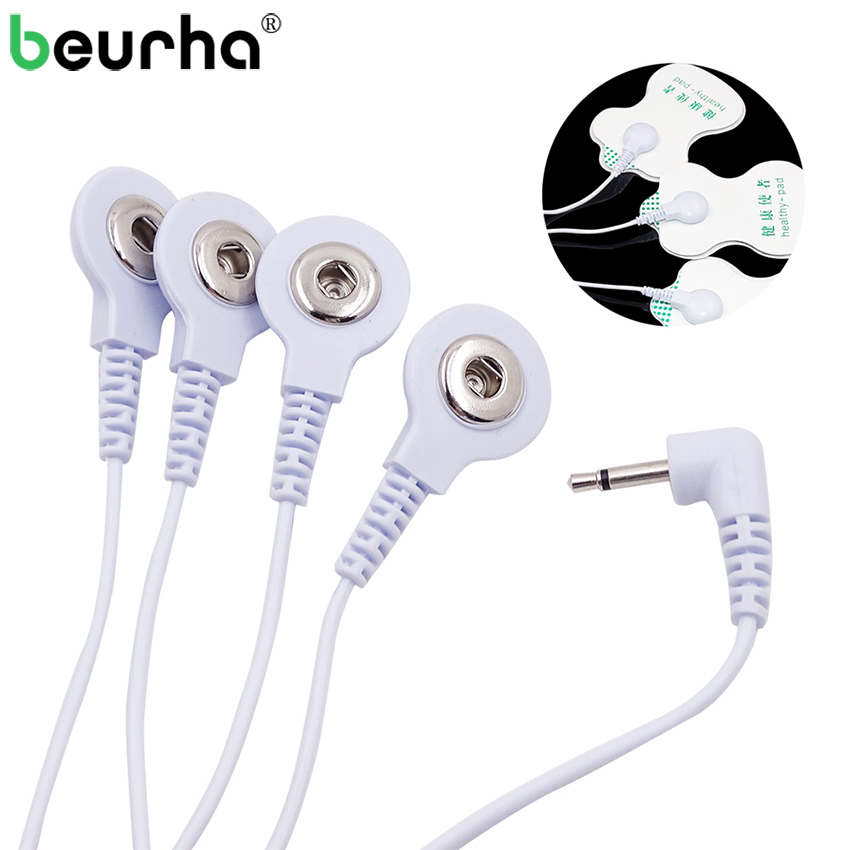 1 Piece 4-Way Durable Replacement Electrode Pads TENS Unit Lead Wires Cables for Tens EMS Standard 5mm Connection Massage Tools 100pairs lot 3 5mm snap tens electrode lead wires connecting cables plug 2 5mm use for connect tens ems massager machine device