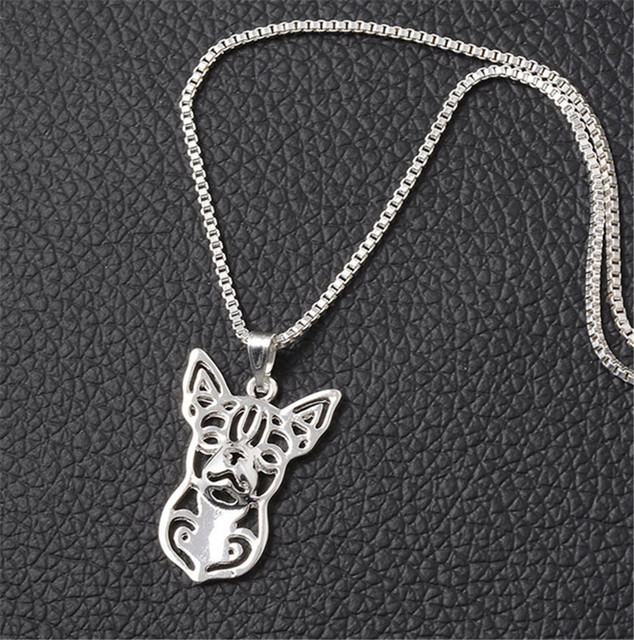 RONGQING Hollow Out Silver Plated Chihuahua Necklace