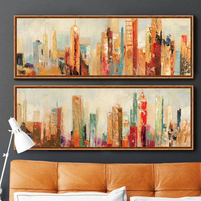 Urban Architecture Modern Abstract Painting Canvas Prints Wall Art Free  Shipping Decorative Artist For Home Office