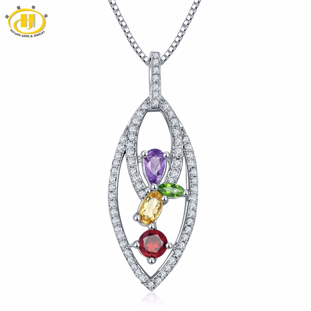 Hutang Cute Natural Multi Gemstone Chrome Diopside & Citrine Solid 925 Sterling Silver Pendant & Necklace Fine Jewelry For Women стоимость