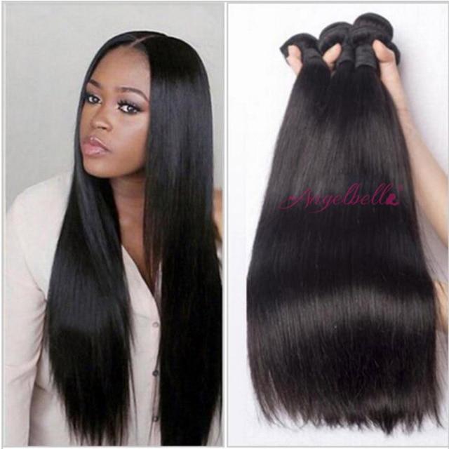 Angelbella Indian Straight Human Hair Bundles Best Natural Black