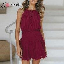 89de594b34ef2 Conmoto Halter Katı Şarap Kırmızı Plaj Kısa Elbise Sleevless Parti Kadın  Elbise Yüksek Sokak Zarif rahat elbise Vetidos