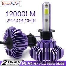 BraveWay светодиодный фара для авто супер светодиодный лампы для автомобилей лампочки H1 H4 H7 H11 9005 9006 светодиодный HB3 BH4 12000LM 12 V диодные лампы