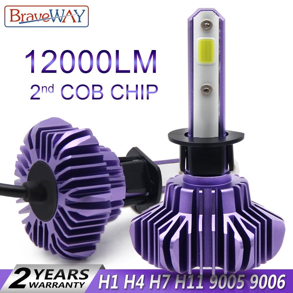 BraveWay Led faro para Auto Super bombilla LED para la luz del coche bombilla H1 H4 H7 H11 9005 Led 9006 HB3 BH4 12000LM 12 V diodo de lámparas