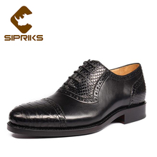 Sipriks Luxury Mens Goodyear Welted Shoes Elegant Black Python Shoes For Men Genuine Snakeskin Formal Shoes Suits Mens Shoes