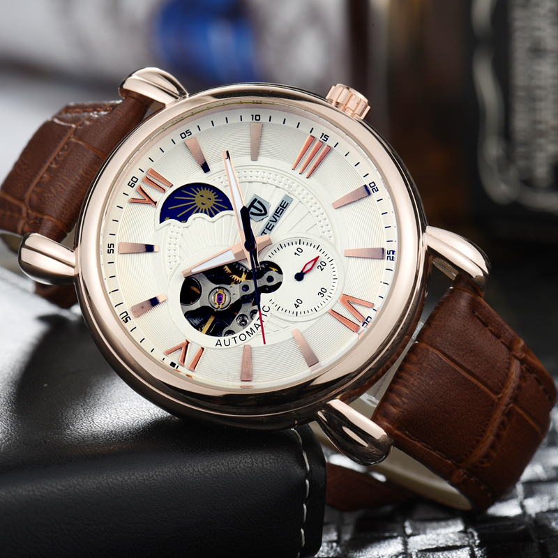 TEVISE Automatic Self-Wind Watches Moon Phase Leather Bans Watch Men Mechanical Winder Clock Working second dial 8397 with box tevise tourbillon watch men date calendar self wind automatic mechanical watches leather men watch fashion waterproof male clock