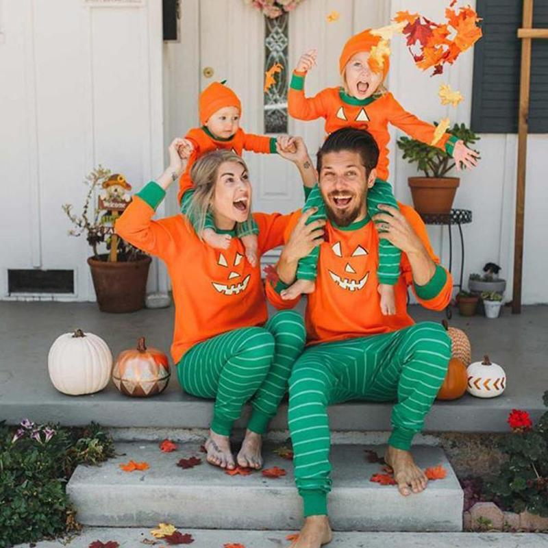 Halloween Pumpkin Parent-Child Clothing Kids T-shirt Pants Hat Baby Rompers Cotton Family Outfits Mom Dad Casual Home Outfits