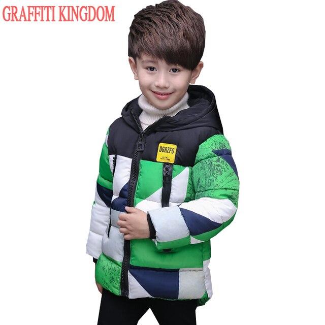 Для мальчиков зимний пуховик новинка 2016 Детская одежда теплые куртки пальто детская теплая хлопковая стеганная куртка магазин при фабрике