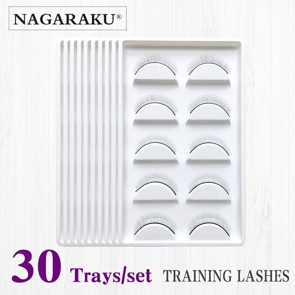 NAGARAKU 30 trays Set False Eyelashes Handmade Training Lashes For Beginners Eyelash Extensions Tools Beauty Salon