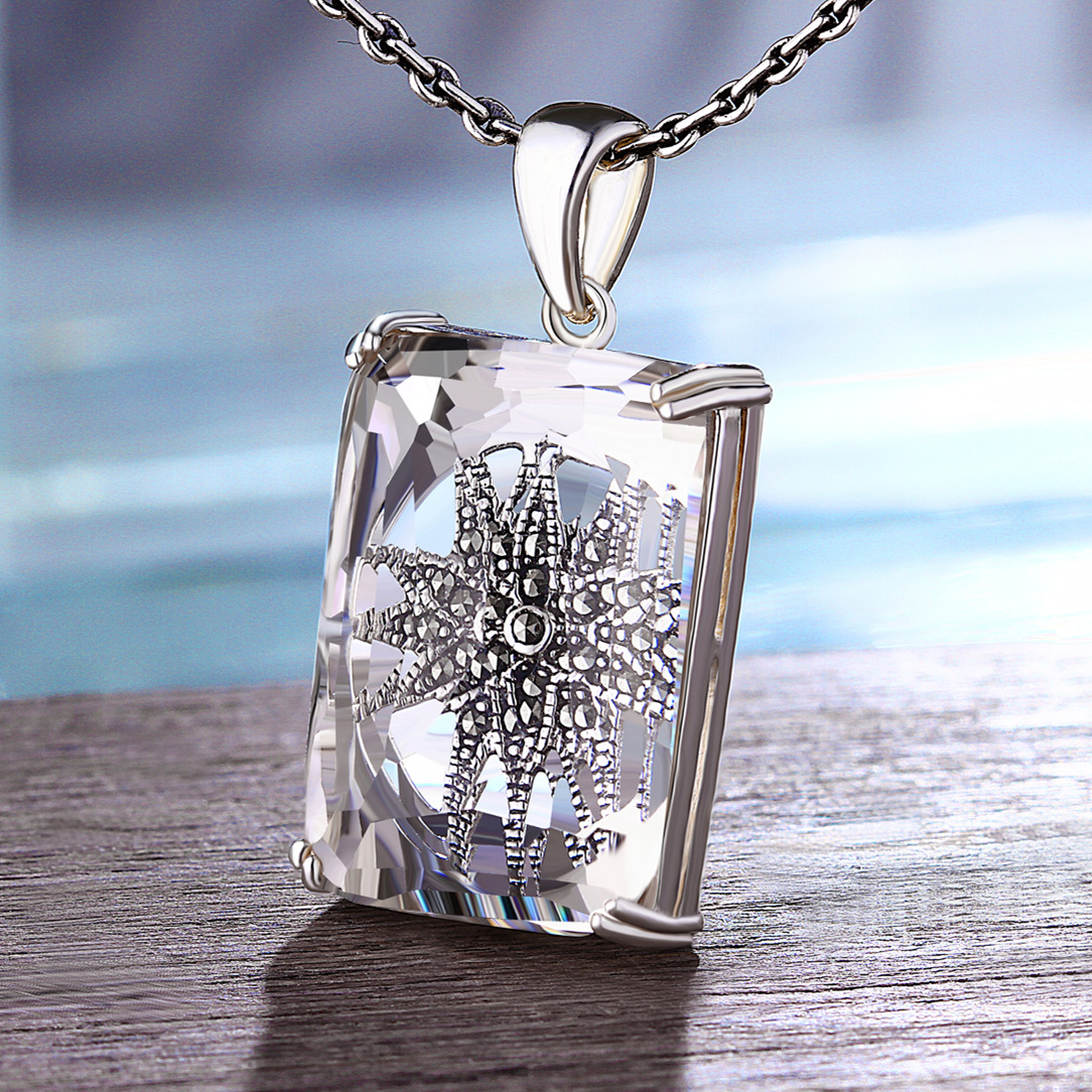 Natural Faceted White Crystal Pendant Women Large Rectangle Exquisite 925 Sterling Silver Mosaic Flower Chakras Jewelry