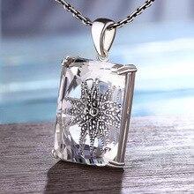 Natuurlijke Facet Witte Kristallen Hanger Vrouwen Grote Rechthoek Prachtige 925 Sterling Zilver Mozaïek Bloem Chakra Sieraden