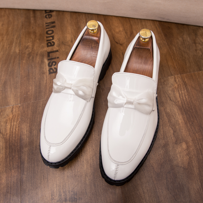 formal men leather shoes male trend Bow slip on footwear cool italian luxury brand wedding dress moccasins oxford shoes for men (38)