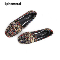 Ladies Hemp Shoes Colorful Metal Flats Drive Plus Size 34 43 32 2018 New Arrival Add