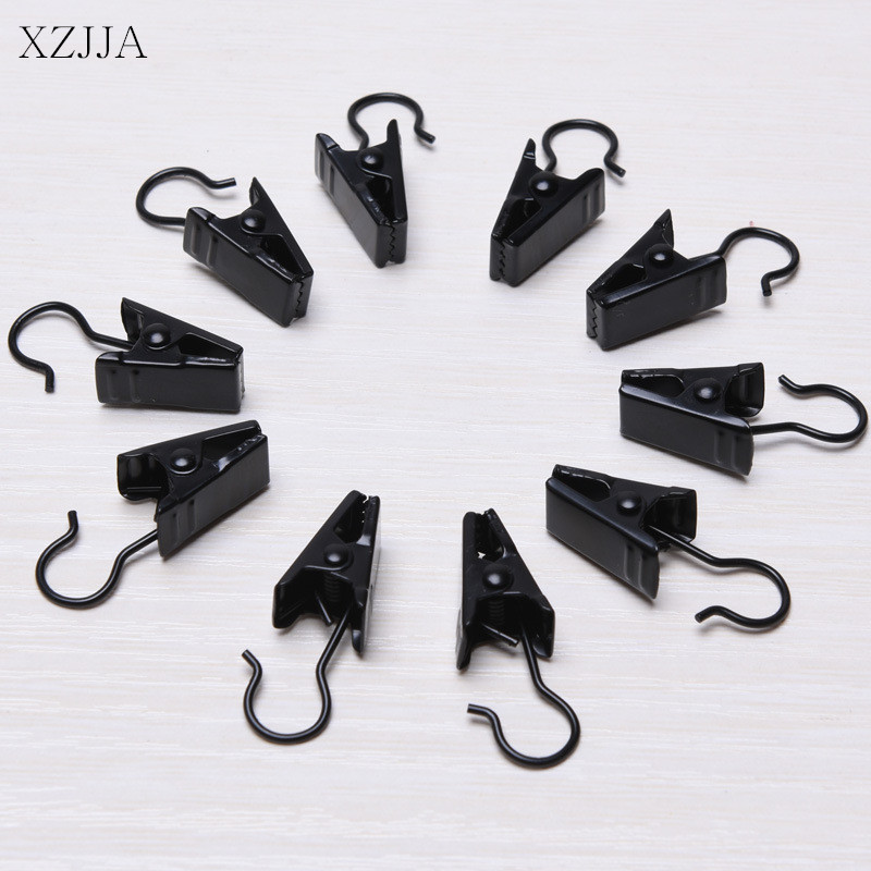 XZJJA 10pcs Window Shower Curtain Rod Clips Hook Sturdy And Durable Drapery Clips Curtain Rings Clamps Home Bathroom supplies