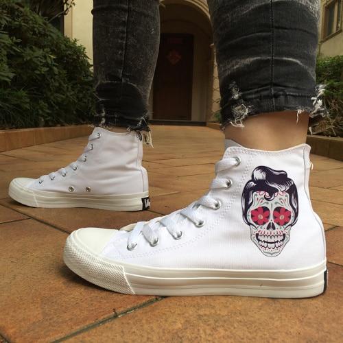 44e424fd087e Wen White Shoes Design Female Male Mexican Skull Tattoo High Top Men Canvas  Shoes Women Skateboard Sneaker Black Lovers Footwear