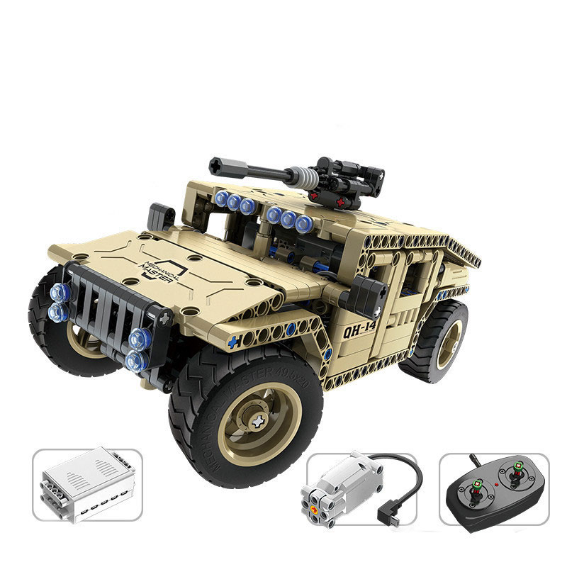 8014 502pcs Technic Military Remote Control RC Armed Hummer Car Building Block Brick Toy technican technic 2 4ghz radio remote control flatbed trailer moc building block truck model brick educational rc toy with light