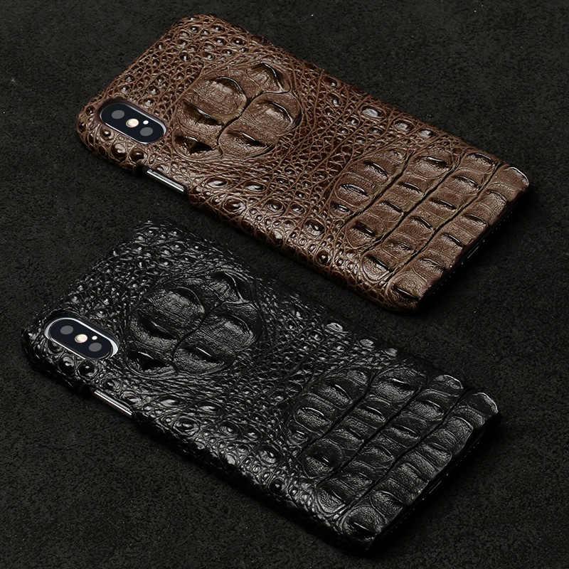 Capa de celular de couro natural para apple, capinha para iphone x, 11pro, 11 pro, max, xs, xr, xs, max, se, 2, 2020, 5S grão de crocodilo de luxo, 7 6 6s 8 plus