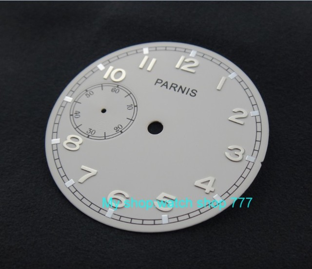 38.9mm white dial fit for 6497-1 /6497-2/st3600 movement watch silvery marks 07a