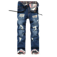 Denim Ripped Jeans Men Designer Brand Jean Pants Embroidery USA Pattern Waist Men Skinny Stretch Jeans