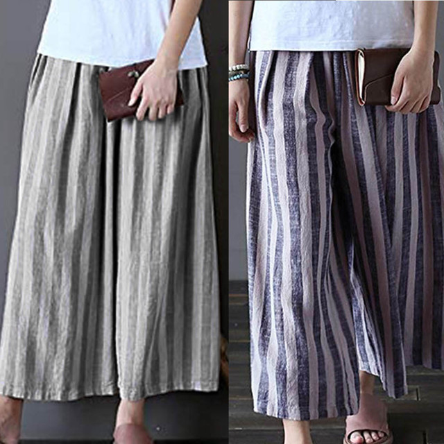 new york for whole family good Womens Ladies Casual Cotton Linen Stripe Wide Leg Cropped Trousers Pants  Perfect Match with other clothes free Shipping-in Pants & Capris from  Women's ...