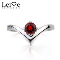 Leige Jewelry Natural Garnet Ring Anniversary Ring January Birthstone Round Cut Red Gems 925 Sterling Silver Ring Gifts for Her