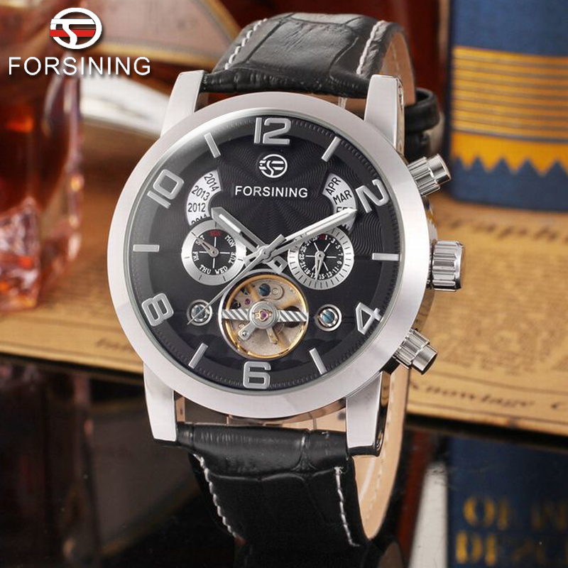 купить FORSINING Top Brand Luxury Aviator Mens Automatic Mechanical Watch Tourbillon Chronograph Uhren Men Clock Casual Leather Watches недорого
