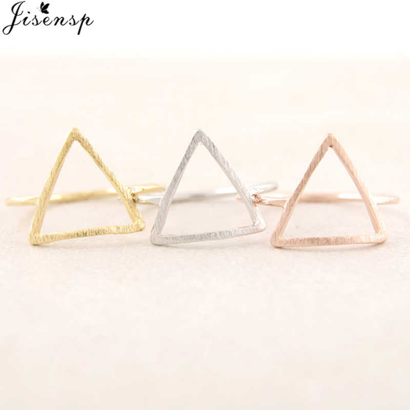 Jisensp Punk Brushed Triangle Rings for Women Simple Geometric Ring Wedding Bague Femme Fashion Jewelry Girls Party Gifts