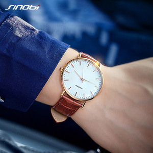 Image 3 - SINOBI New Design Netting Printed Men Watches 316L Steel Leather Waterproof Watch Male Imported Quartz Watch Clock Gifts