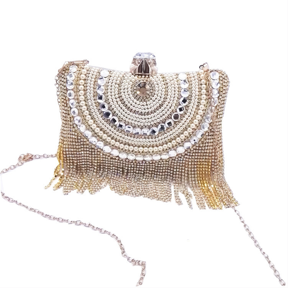 2018 New Rhinestones Tassel Clutch Diamonds Beaded Metal Evening Bags Chain Shoulder Messenger Purse Evening Bags For Wedding Ba
