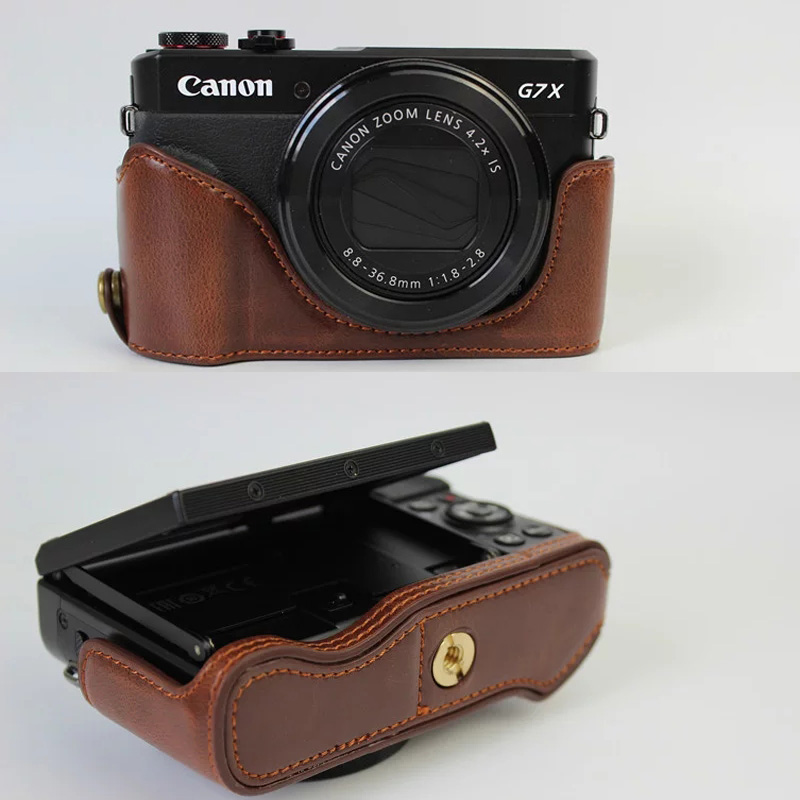 PU Leather Half Set Cover case For Canon Powershot G7X Mark 2 G 7X G7X II G7X2 Hard Camera Bag Half Body Case