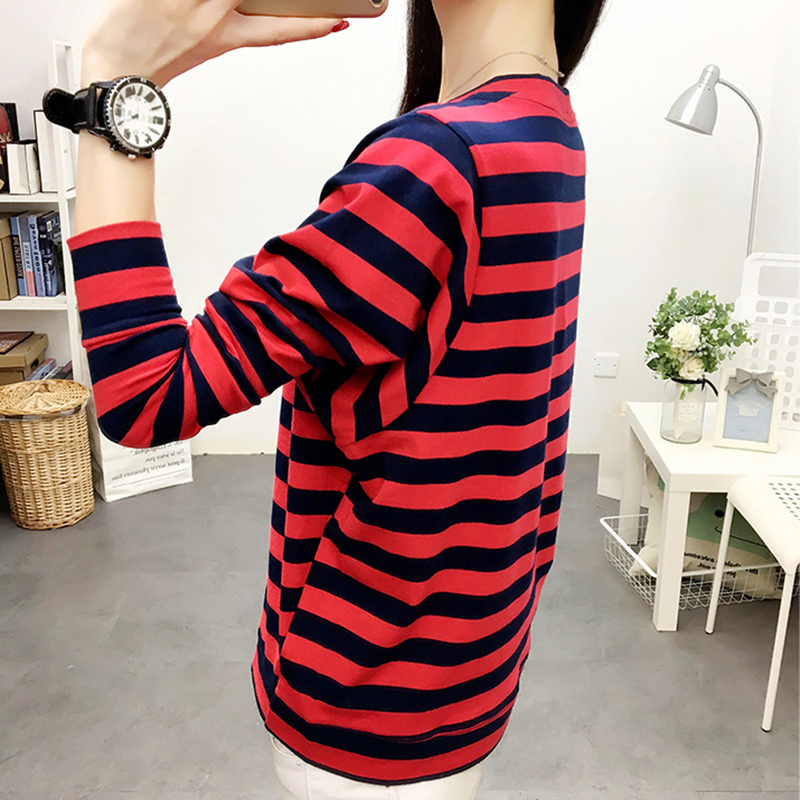 Shintimes Pockets T Shirt Women Striped Tshirt Womens Long Sleeve Tops Loose Plus Size T-Shirt Femme Poleras De Mujer Moda 2019