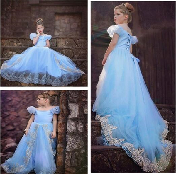 Girl's Crystal Princess Dress First Royal Transforming Long Dress Party Gift Cinderella Princess Cosplay Costume