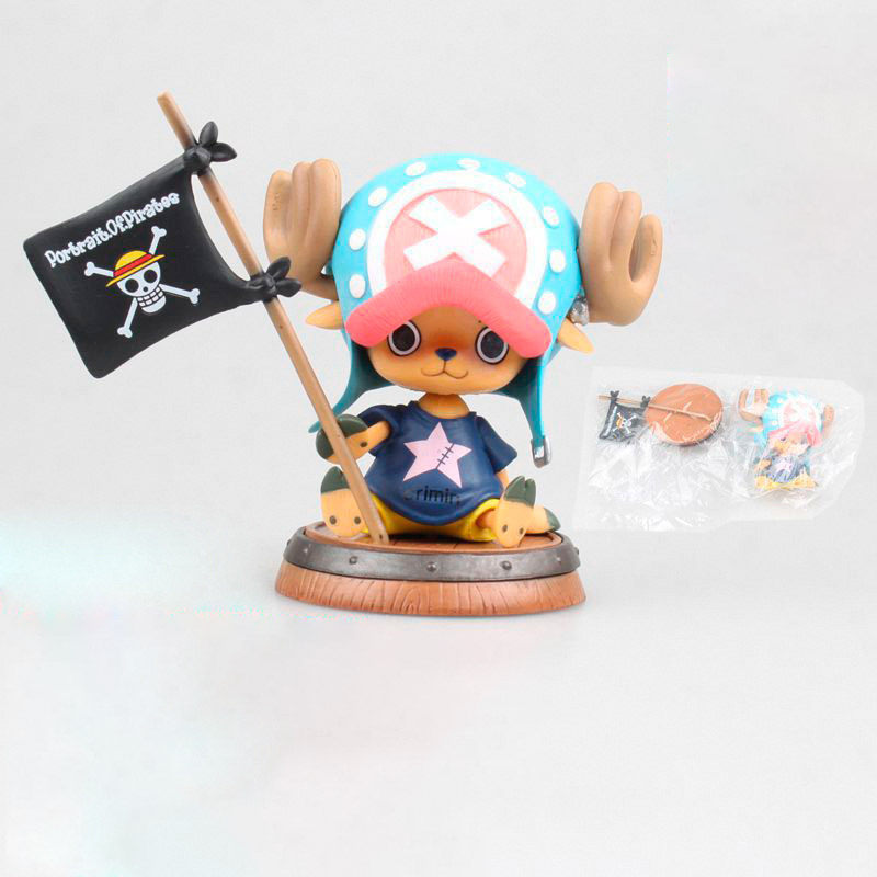 8cm One Piece Figura Toy Tony tony Chopper With Flag Portrait of Straw Hat Pirates Anime Model Dolls in Action Toy Figures from Toys Hobbies