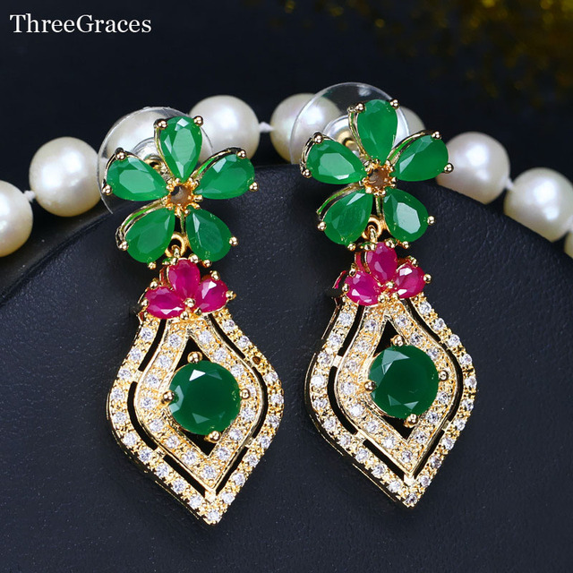 ThreeGraces Elegant Women African Costume Jewelry Natural Green Red