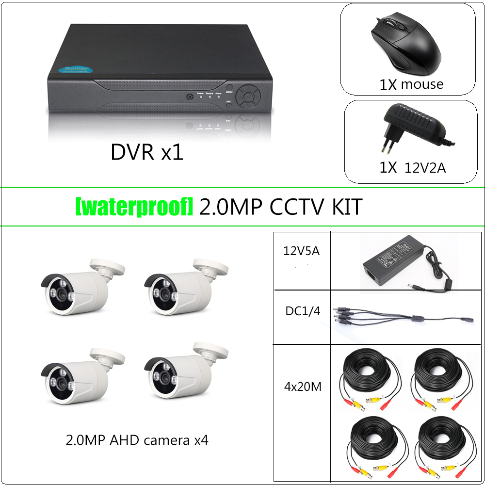 YiiSPO 4CH CCTV Security kit 1080P AHD camera HD CCTV kit HDMI VGA OUT phone view indoor/waterproof P2P 2.0MP 1080N DVR 20Mcable