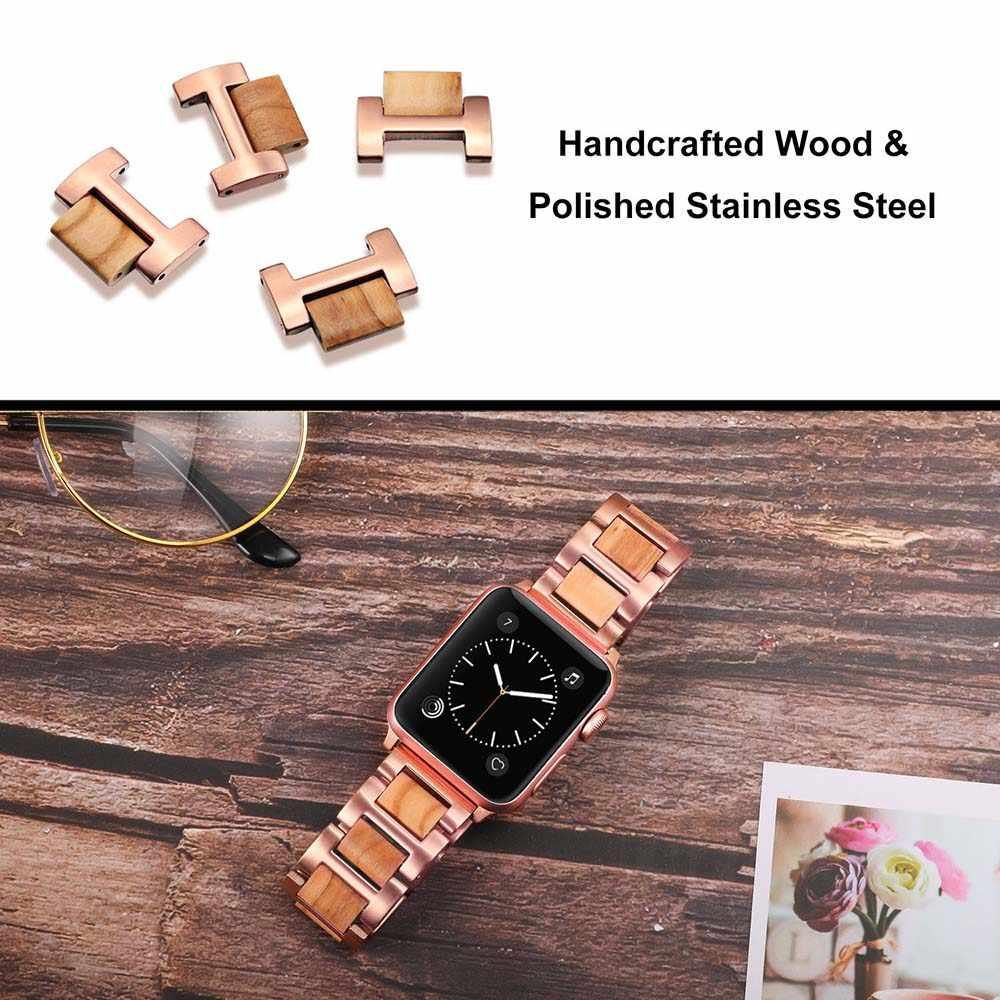 Natura drewno i stal nierdzewna pasek do zegarka iwatch Apple Watch 5 4 3 2 1 44/42/40/38mm pasek na rękę bransoletka z paskiem różowe złoto czarne