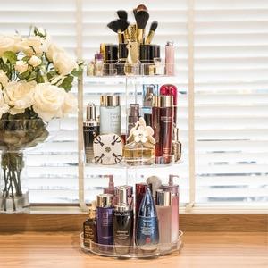 Image 3 - Extra Large Capacity 360 Degree Rotating Makeup Organizer Lipstick Holder Adjustable Multi Function Cosmetics Storage Box