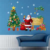% Presente de natal decoração da árvore de Papai Noel adesivos de parede para crianças decalques da parede da sala de adesivos de paredes artes de parede cartaz