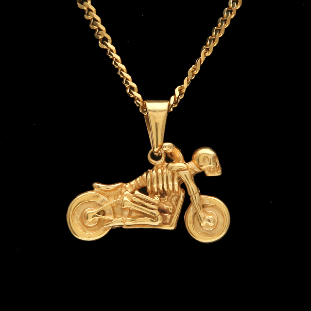 Ghost Rider Skull Motorcycle Scooter Necklaces Gold Chain Stainless Steel Motor Biker Rider Pendants For Men Punk Jewelry