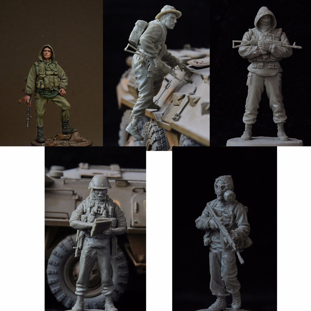 Assembly Unpainted Scale 1/35 Soviet Airborne include 5 soldiers figure Historical WWII Resin Model Miniature Kit scale models 1 16 120mm soviet scout soldier ww2 120mm figure historical wwii resin model free shipping