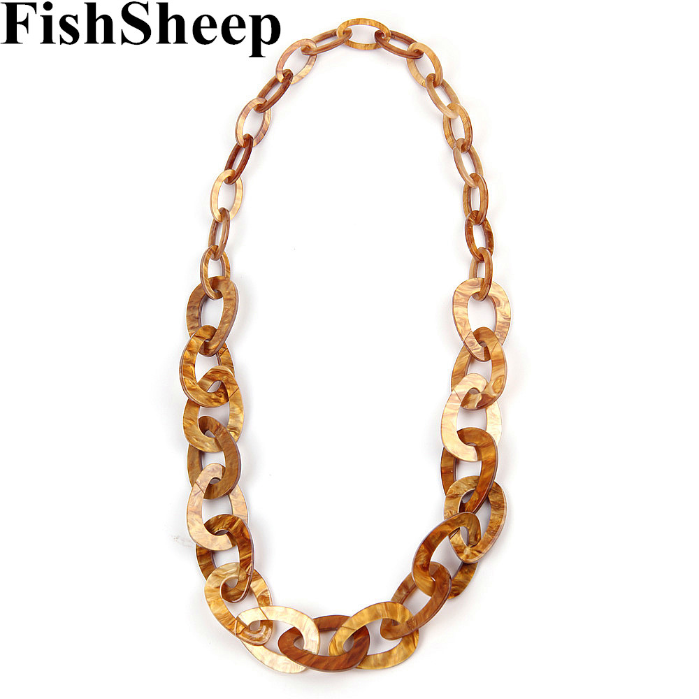 FishSheep New Acrylic Long Chain Necklace Simple Design Plastic Chunky Link Chain Pendant Necklace 2017 Fashion Jewelry ...