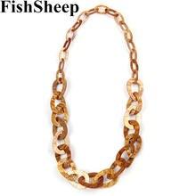 Fishsheep новая акриловая длинная цепь ожерелье Простой дизайн