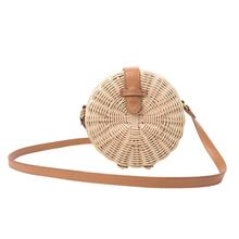 Outdoor Beach Round Rattan Hand-woven Bag Summer Fashion Leisure Natural Straw Shoulder Bag For Women Brand New 3 Colors leisure straw and sequins design shoulder bag for women