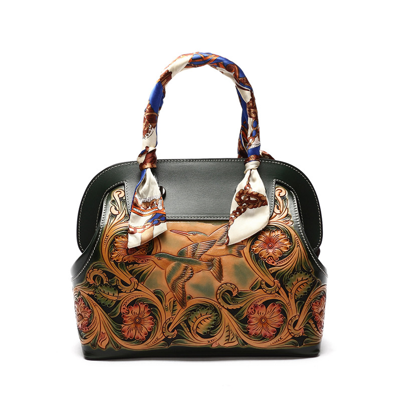handmad ladies handbag italian vegetable tanned leather Hand carving Flowers  Shell style bag for women italian visual phrase book