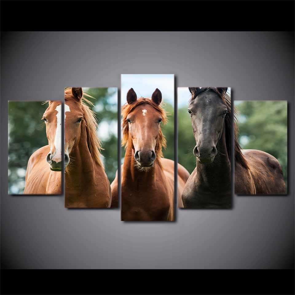 5 Piece Framed Printed Three Brown Horse Race Painting On Canvas Decor Art Print Picture Canvas Poster Printing Nanatsu No Taiza