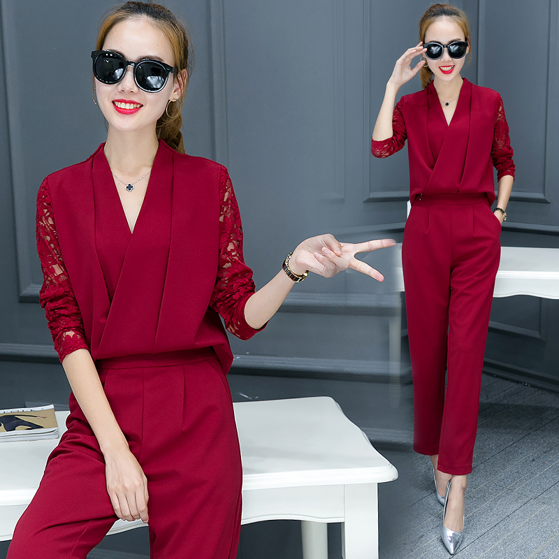 Fashionable Women V Neck Shirt Pants Suit New 2016 Autumn Korean - Women's Clothing - Photo 2