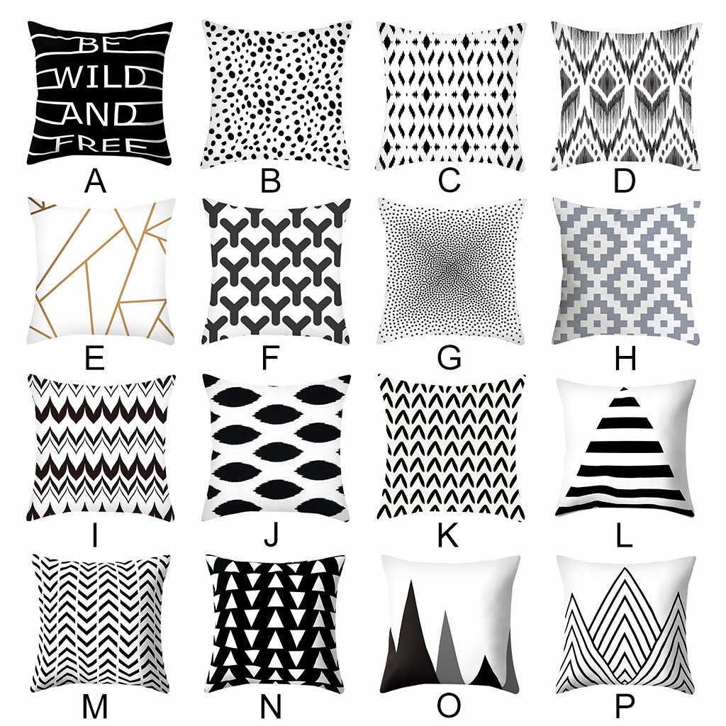 غطاء الوسادة الأسود و الأبيض هندسية رمي وسادة غطاء ساعة مربعة الشكل ديكور المبهر سادات Kussenhoes Cojines كيس وسادة