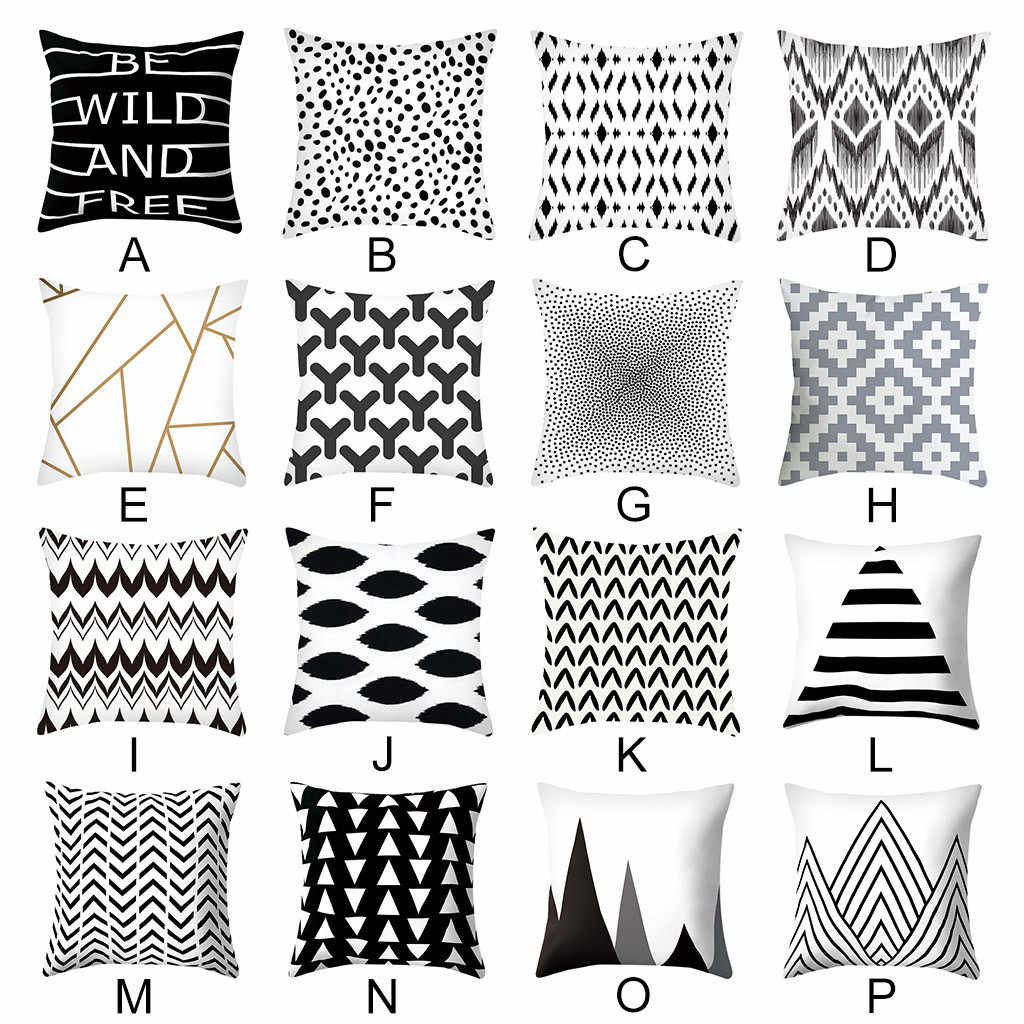 Cushion Cover Black & White Geometric Throw Pillow Cover Square Case Decor Dazzling Pillowcases Kussenhoes Cojines Pillow Case