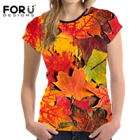 FORUDESIGNS Summer T Shirt Women Casual Shirts 3D Leaf Printing Woman Tops T Shirt Summer Short